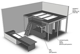 INNOVASJON. Designeren mener at med dette to-etasjers konseptet har han skapt et ny type hotellrom. Dette er fra et fem-personsrom skreddersydd for rockegrupper og vennegjenger.