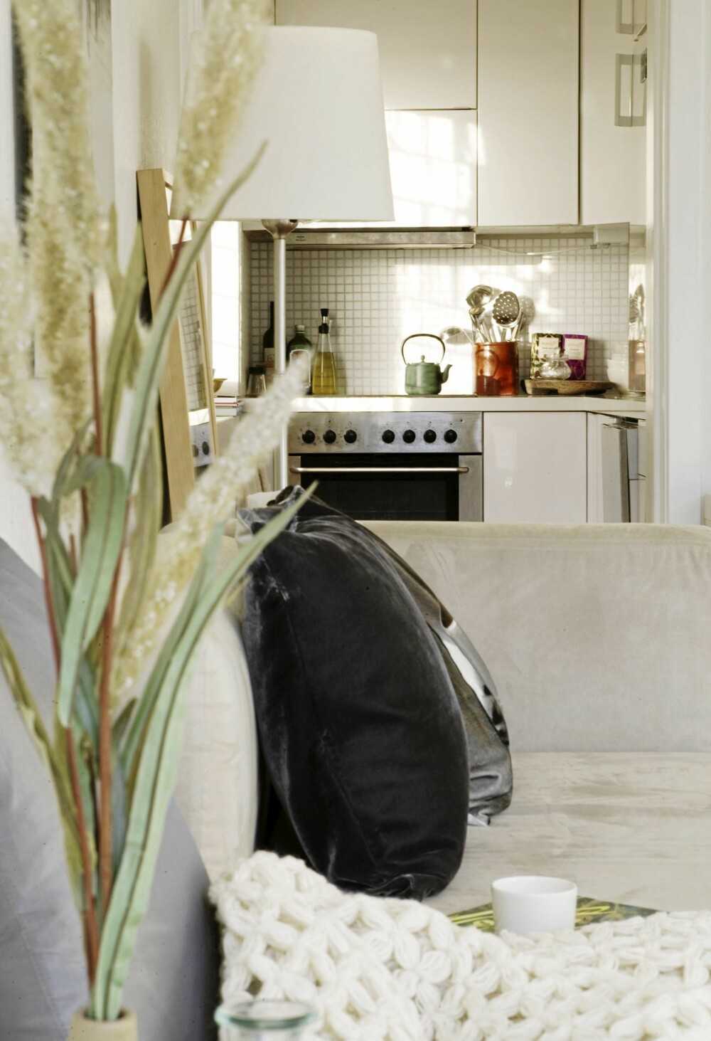 ÅPEN LØSNING: Kjøkkenkroken er liten, men mangler ingenting.