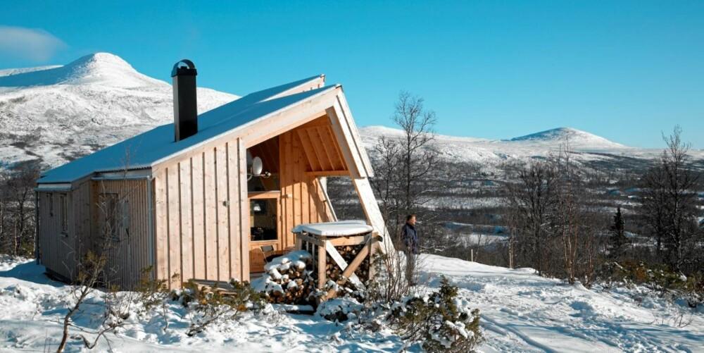 INSPIRERT AV OMGIVELSENE: Et massivt fjellkjede omslutter den moderne hytta med elementene som lener seg mot hverandre.