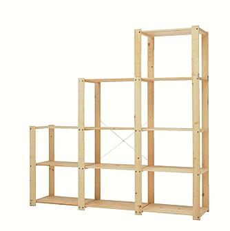 FLEKSIBLE HYLLER: Med et fleksibel hyllesystem kan du bygge i den høyden og bredden du ønsker, slik at du får utnyttet plassen fullt og helt. Oppbevaringssystemet Gorm, kr 545, fra Ikea.