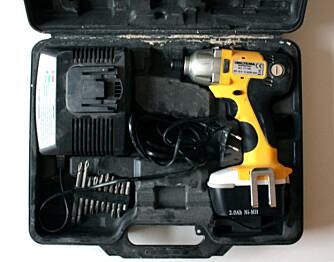 Koffert: Biltema skru- og muttertrekker  kommer i koffert med lader og ett batteri.