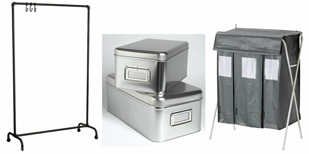 Svart klesstativ på hjul, kr 1875, House Doctor. Aluminiumsbokser, stablebare, kr 79/sett, Ikea. Svart sorteringsbag med stativ, kr 85, Ikea.