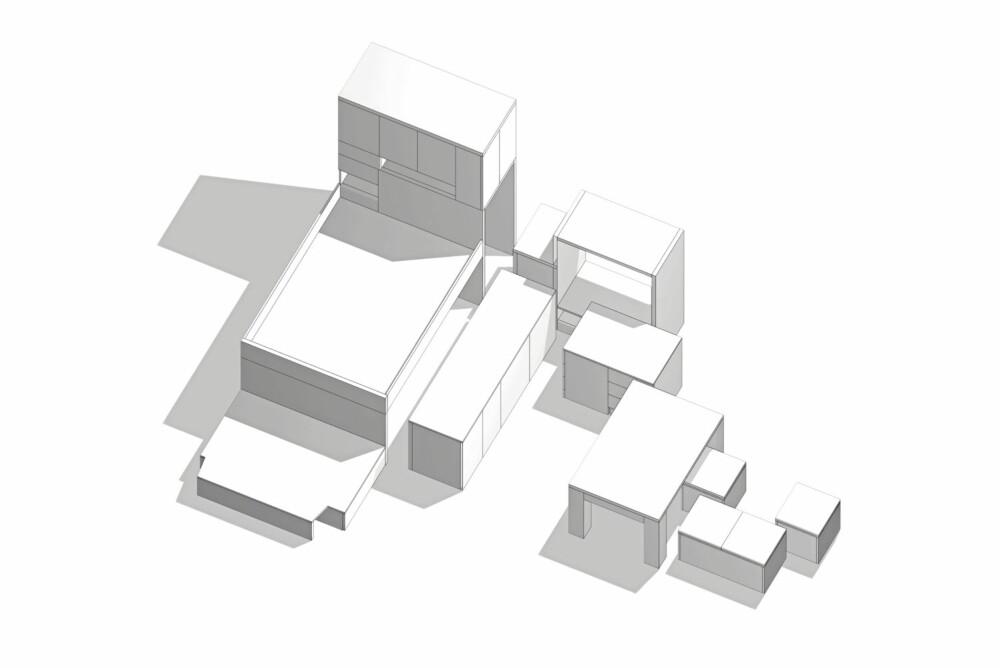 Møbelsystemet består av en lang rekke mobile enheter.