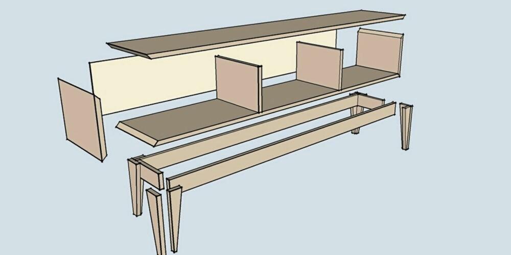 Eksplodert: Her ser du hele hylla i deler. Bortsett fra bakplaten, så kan du lage alt med utgangspunkt i standard møbelplater.