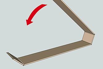 Bruk teip: Når du skal sette sammen skroget, legger du bordene etter hverandre med innsiden ned. Så teiper du skjøtene slik at du får _hengsler_, limer og bretter hele hylla sammen.