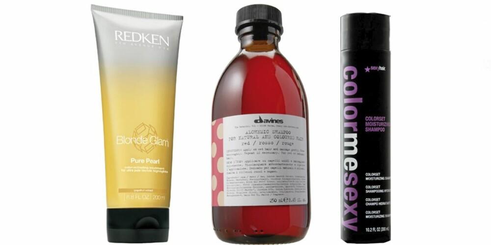 HÅRFARGEPROUKTER: Det finnes en rekke produkter som skal bevare hårfargen lenger. Redken Blonde Glam er beregnet på blondt hår, Davines Alchemic Shampo Rosso skal fremheve rødtoner og Sexy Hair Colour me sexy passer til alle hårfarger.