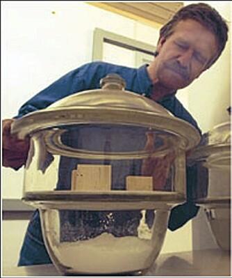 FORSKER: Sivert Uvsløkk forsker på fukt og varme i hus. Her jobber han med å finne vannopptak i finér.