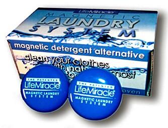 Magnetic Laundry System er vaskemagneter du plasserer inne i vaskemaskinen. Heller ikke de funker noe særlig.