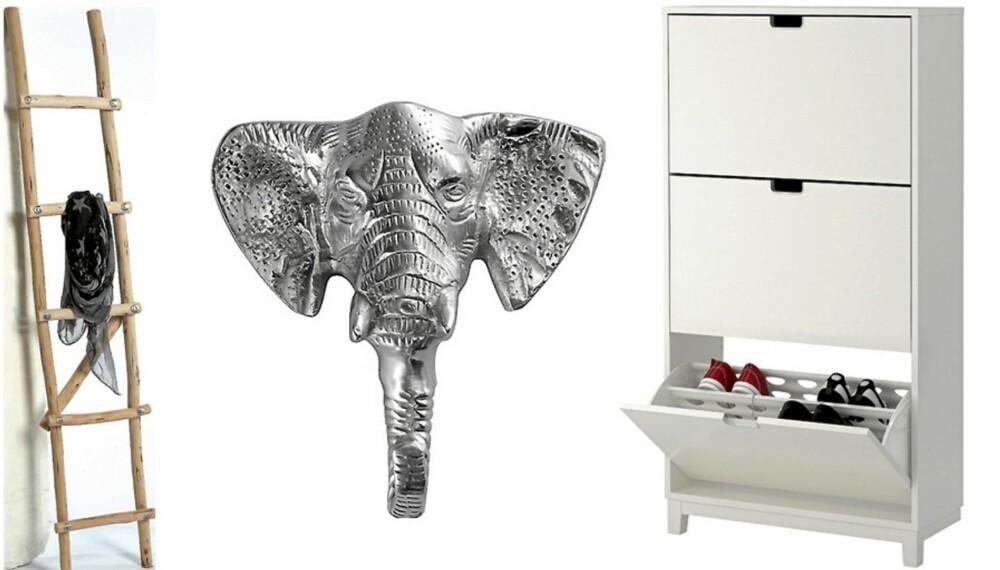 GANGBARE LØSNINGER: Trestige, til for eksempel sjal og smykker, kr 798, Country Chic. Elefantkrok, kr 89, Åhléns. Hvitt skoskap med tre rom, kr 995, Ikea.
