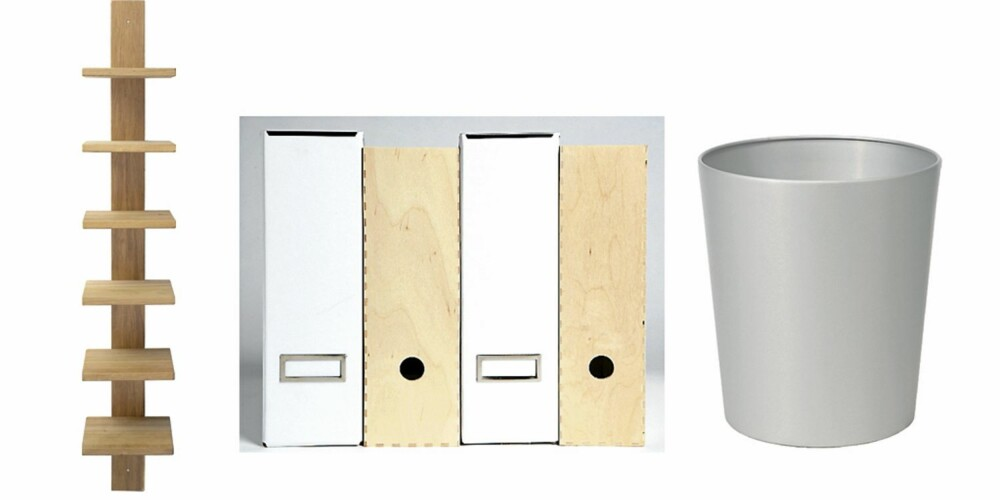 TAR LITEN PLASS: Smal hylle av eik til bøker, CD-er og DVD-er, kr 1500, Åhléns. Hvite arkivpermer, kr 75 pr. sett med to, i trefinér, kr 65 pr. sett med to, begge fra Ikea. Parpirkurv i hvitlakkert aluminium, kr 150, Åhléns.