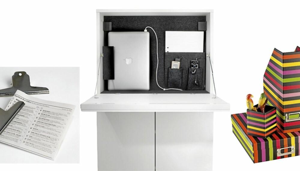 MINIKONTOR: Store metallklyper, kr 19, Granit. Arbeidsplass for bærbar PC, kr 895, Ikea. Stripet arkivsett med mappe, kr 49, penneholder, kr 29, og tidsskriftsholder, kr 49, Åhléns.