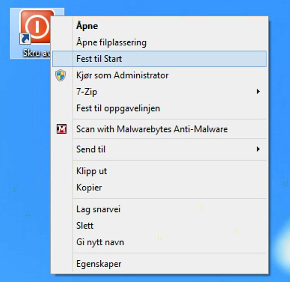 5. Ønsker du å plassere din nye snarvei på startskjermen i Windows 8, gjør du det ved å høyreklikke på snarveien og velge «Fest til Start».