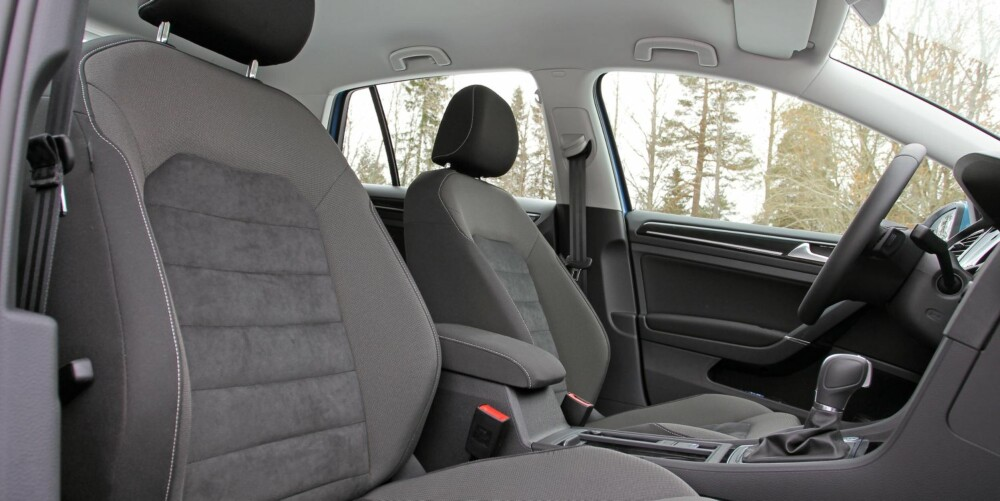 BEST PÅ SETER: Sittestilling og støydemping er førsteklasses i VW Golf.