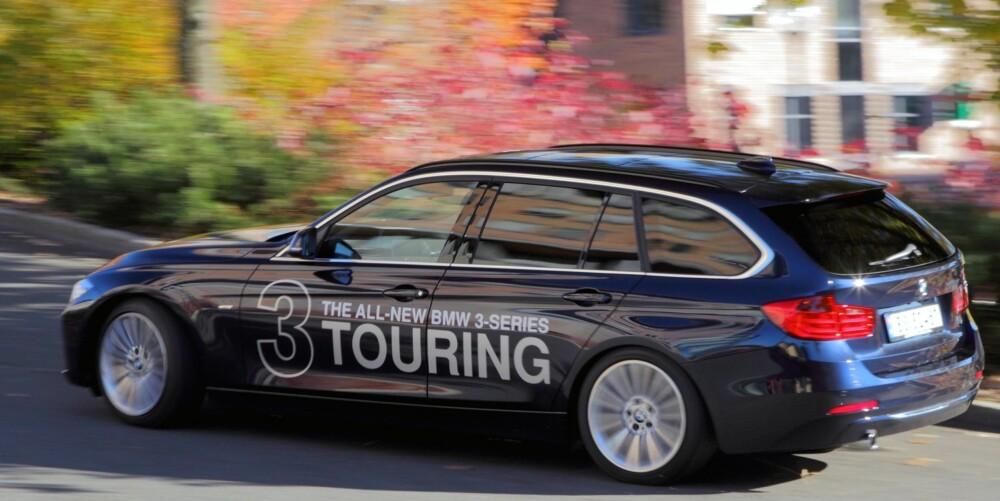 LEVENDE: BMW 3-serie stasjonsvogn legger ikke skjul på sine sportslige ambisjoner. Understellet er fast, og kjøreegenskapene er i toppklasse. FOTO: Egil Nordlien, HM foto
