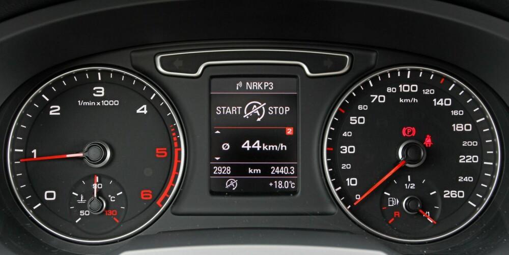GJERRIG MOTOR: Q3 er en av få biler som havner under det oppgitte forbruket i vår testrunde. Den er også den aller mest drivstofføkonomiske firehjulsdrevne bilen vi har kjørt vår faste forbruksrunde med.
