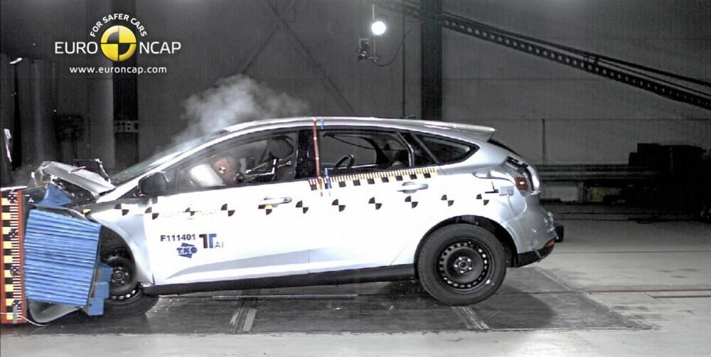 SIKKER: Ford Focus ligger på et godt nivå i sin klasse hva kollisjonssikkerhet angår. Bilen kan utstyres med en hel del topp moderne antikrasj-utstyr til rimelige priser. FOTO: EuroNCAP