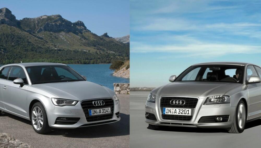LIKE: Det kan være vanskelig å skille ny og gammel Audi A3 fra hverandre. Bilen til venstre er den nye modellen. FOTO: Audi