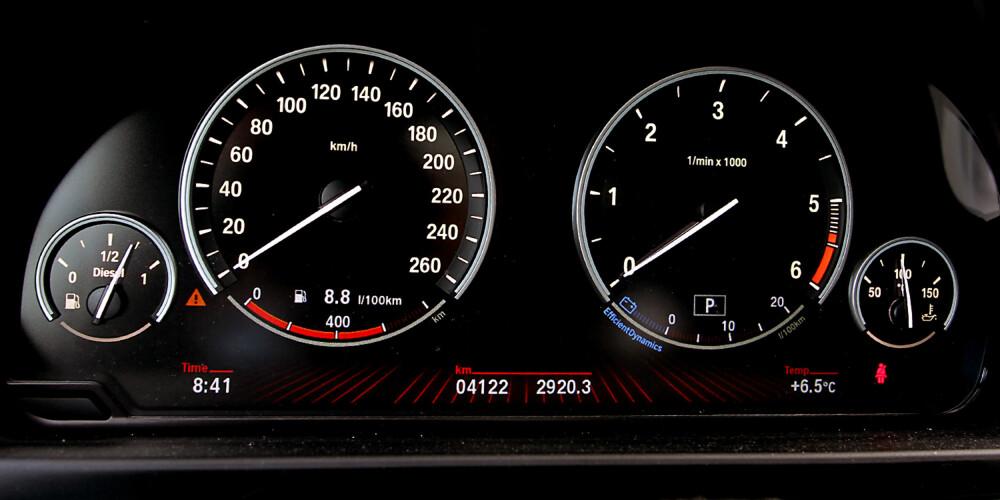 RENT: Det er ikke mye mikkmakk i BMWs instrumentdesign. Her får du all viktig info uten unødvendig pynt. FOTO: Terje Bjørnsen