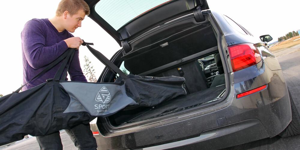 ALLSIDIG: Med firehjulsdrift blir BMW 525dAT xDrive også en bil for vintersportsentusiastene. Plassmessig holder bagasjerommet mål for de fleste aktiviteter. FOTO: Terje Bjørnsen