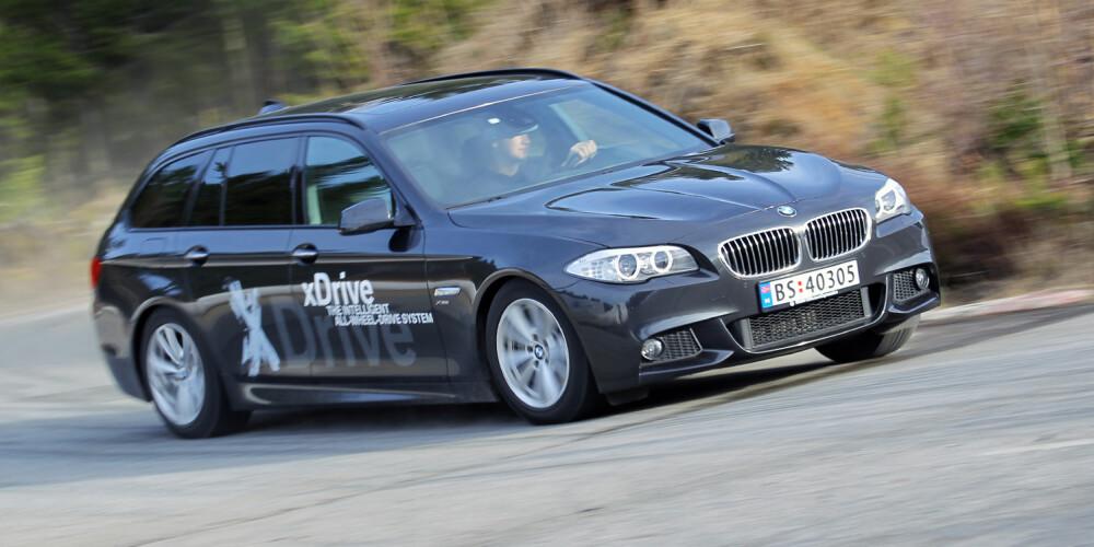 SPORTSLIG: Selv om BMW 525dAT xDrive er stor, reagerer den fortsatt raskt og presist ved aktiv svingkjøring. FOTO: Terje Bjørnsen