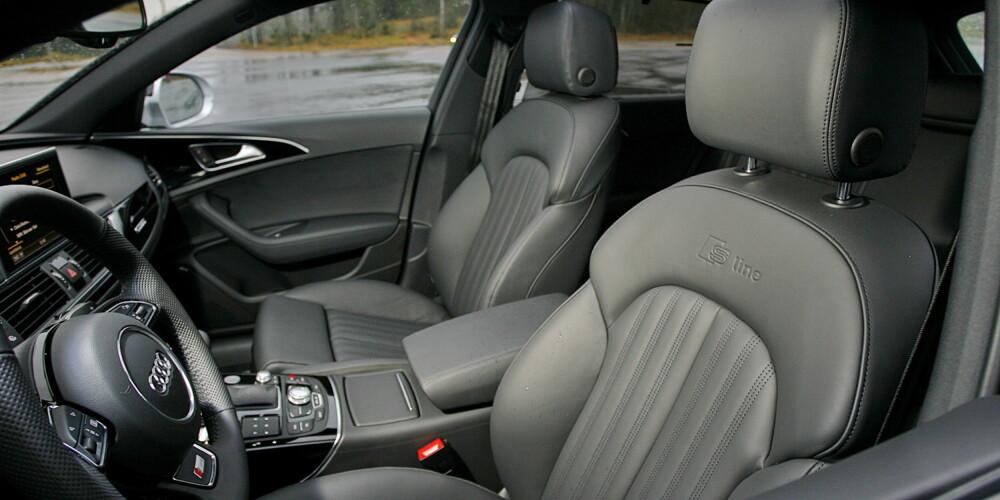 UTSTYR MÅ TIL: Skinnseter krysser mange gjerne av for i Audi A6. Her er de i sportsutgave i tillegg.