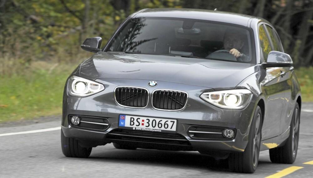 LEI SEG: Designmessig gir BMW 1-serie oss et blandet inntrykk. Særlig fronten henger litt med leppa.