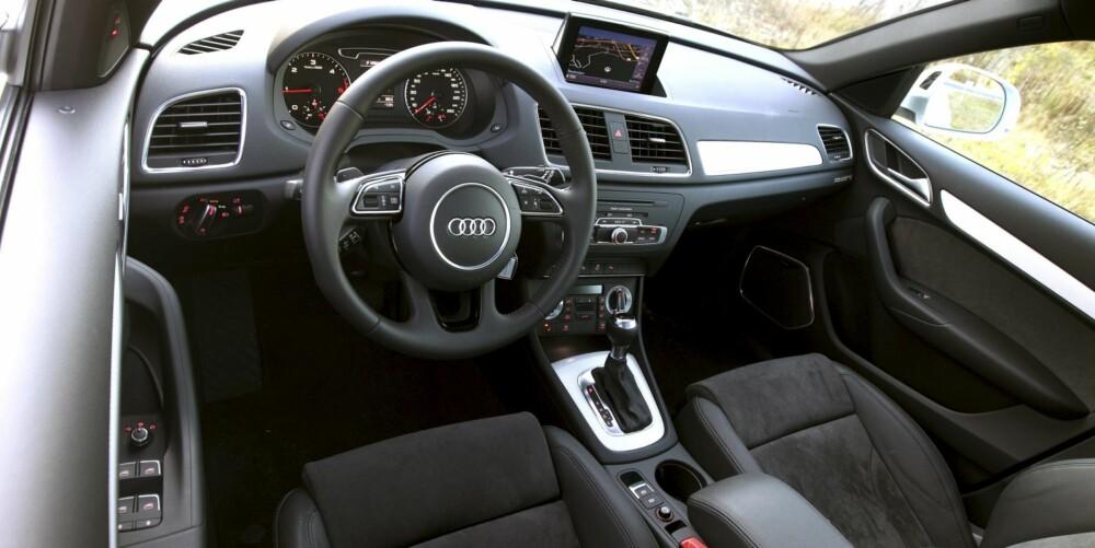 PENT, MEN TRANGT: Instrumentbetjeningen er på typisk Audi-vis enkel og gjennomtenkt. Plassforholdene imponerer ikke. FOTO: Egil Nordlien, HM Foto