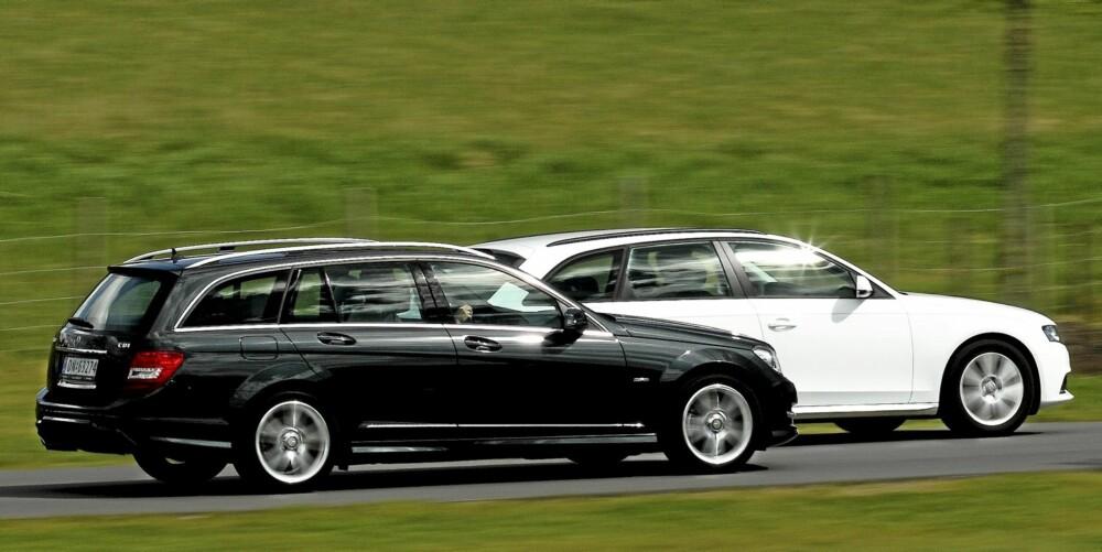 """KONKURRENTER: Mercedes C-klasse er i samme liga som Audi A4, som den her kjører sammen med. Felles for begge: Dyrere enn """"""""folkemerkene"""""""", men de gir også mer i kvalitetsfølelse og kjøreglede. FOTO: Egil Nordlien, HM Foto"""