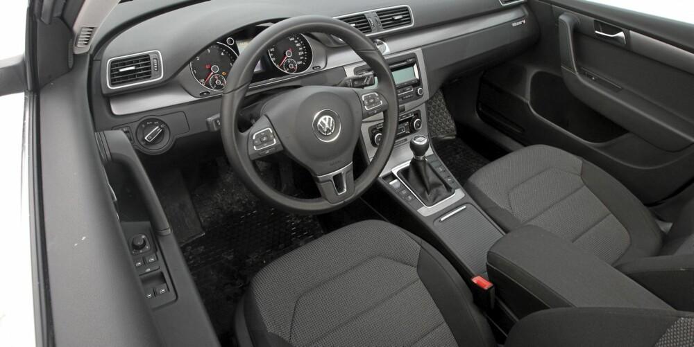 I Comfortlineversjonen av VW Passat 1,6 TDI stasjonsvogn er utstyrsnivået fornuftig og setene behagelige.