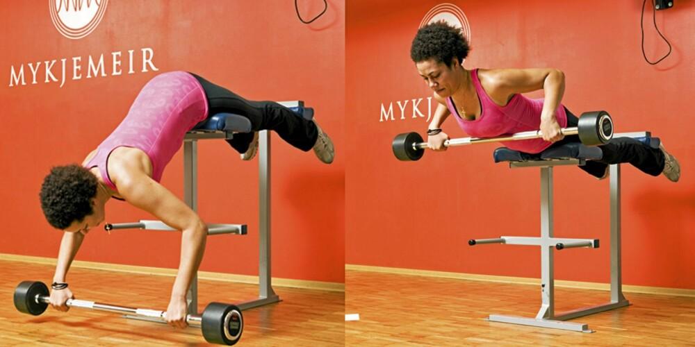 RYGGHEV MED DRAG TIL UNDER BRYST: En super øvelse for rygg og rumpe. Samtidig som du hever overkroppen, trekker du stanga inn rett under brystet, så langt at du kjenner at den berører.