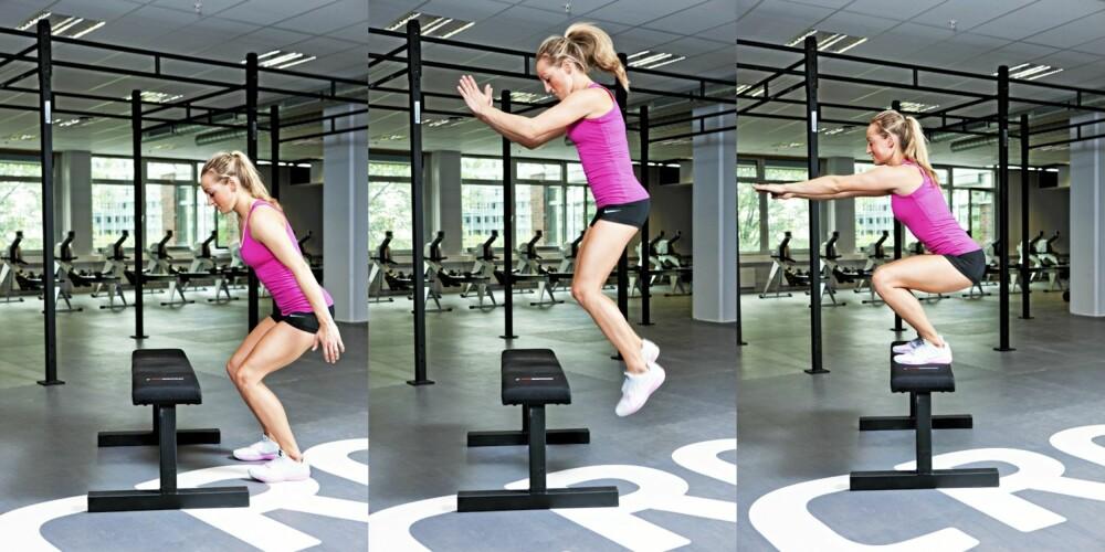 ØVELSE 6: Box jump, posisjon 1, 2 og 3.