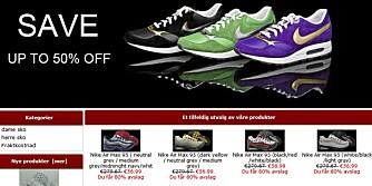BILLIG: Nettbutikkene driver aggressiv markedsføring, og lokker med billige priser sammenlignet med originale Nike-sko. FOTO: Faksimile fra nikenorge-sko.com