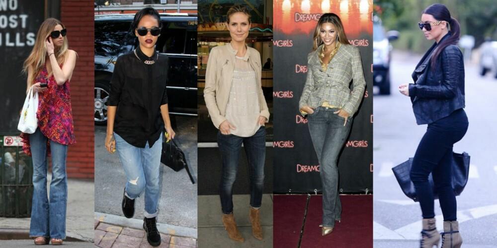 ULIKE MODELLER: Whitney Port (t.v.) er ofte å se i flarejeans, noe som gir henne litt mer former. Rihanna liker seg i avslappa boyfriend-jeans. Oppbrettede skinnyjeans passer godt på Heidi Klums lange ben. Beyonces smekre former kler rette jeans i kraftig denim. Kim Kardashian trenger ekstra god stretch over den kjente rumpa si.