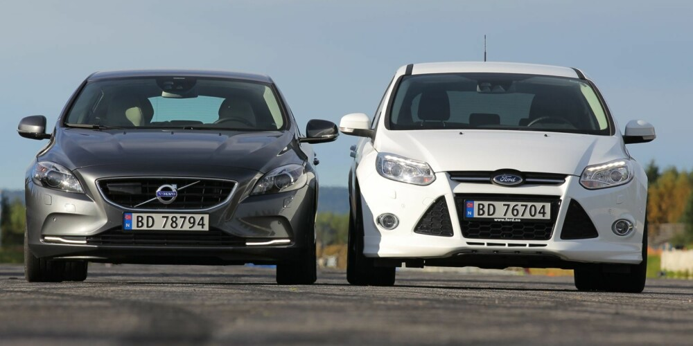 SLEKTEN ER VERST: Volvo V40 vs Ford Focus - en skikkelig familiefeide. Selv om de to nå er mer for stebrødre å regne.