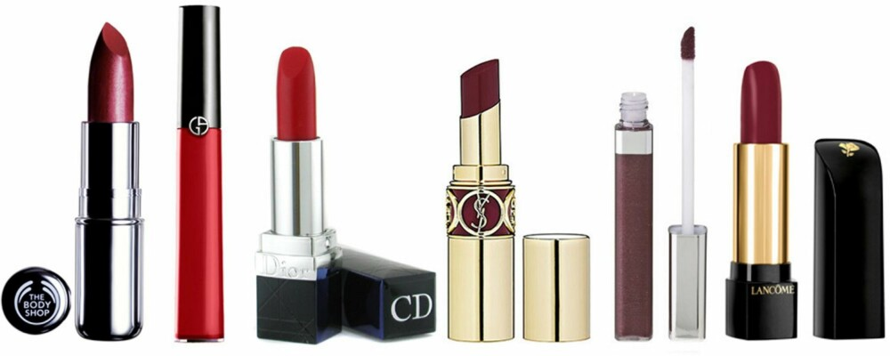 LEPPER: Bodyshop Colourglide LipColour i Forbidden Burgundy, Giorgio Armani Gloss D'Armani i Rouge 400, 390,-, Rouge Dior i Celebrity Red, 285,-, YSL Rouge Volupte i Forbidden Burgundy, 265,-, Maybelline Color Sensational i Wine All Mine, 110,-,  L'Absolue Royge i Hypnose, 285,-.