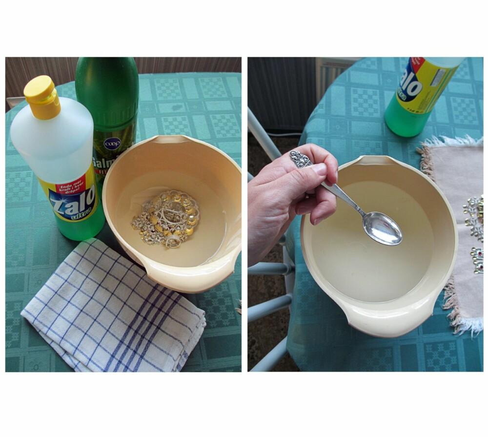 SLIK GJØR DU: Bildet til venstre: Alt du trenger er en plastbolle, Zalo, litt salmiakk og noe å tørke med. Bildet til høyre: Fyll plastbollen med varm vann, noen dråper Zalo og en teskje salmiakk for hver liter vann du har i bollen.