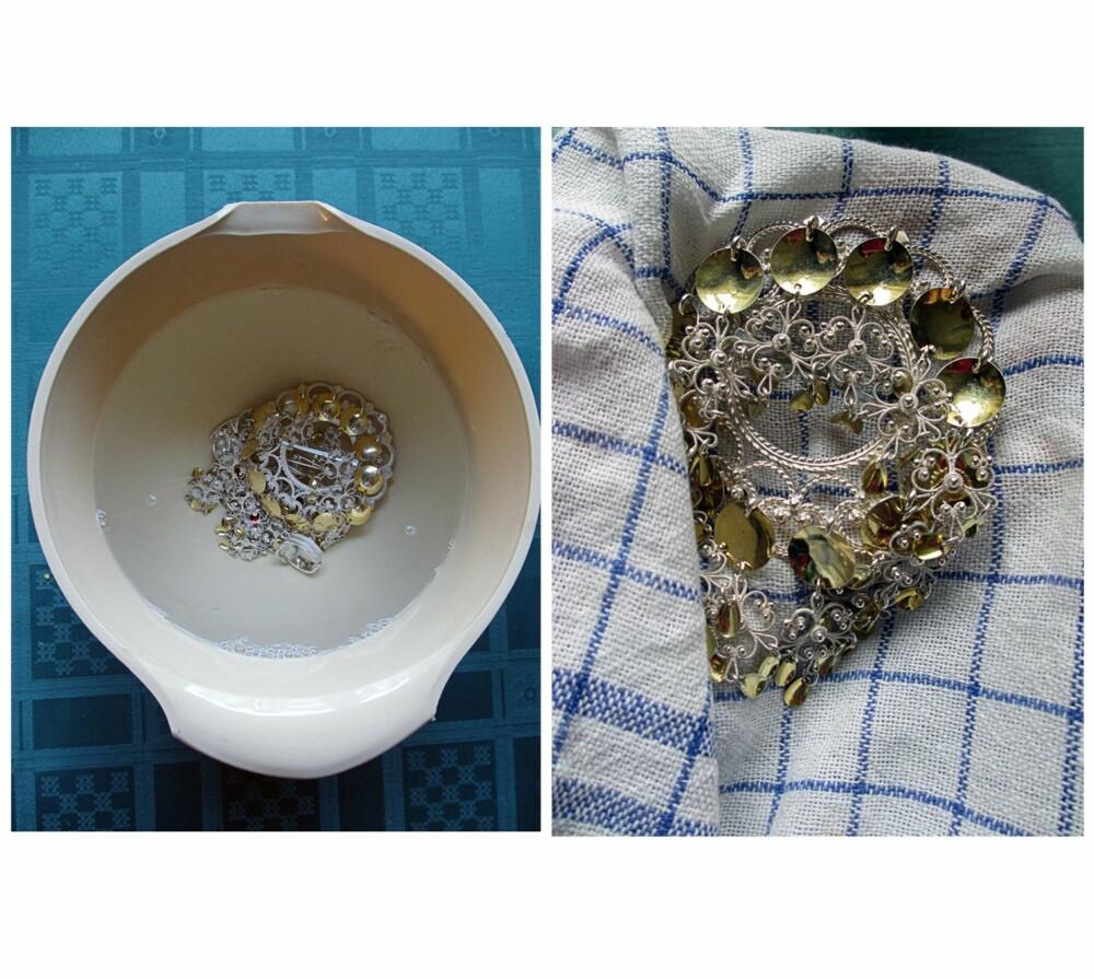NESTE STEG: Bildet til venstre: La bunadsølvet ligge i vann, gjerne i en time eller to. Bildet til høyre: Tørk sølvet med et håndkle eller en hårføner. Dersom du ønsker at sølvet skal bli ekstra blankt, kan du gå over det med en tannbørste før tørk.