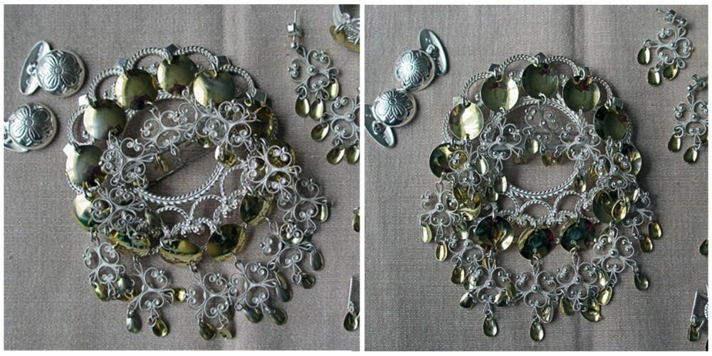 RESULTATET: Bildet til venstre viser bunadsølvet slik det var før vask. Bildet til høyre viser det endelige resultatet. Sølvet ble en god del blankere - og nå kan 17. mai bare komme!