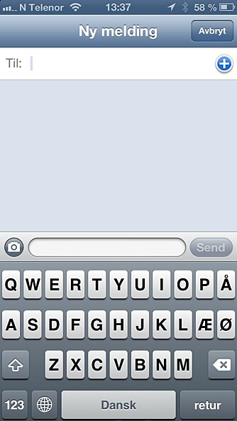 SPRÅK: Du kan legge til flere tastaturspråk. Her ser du vi har byttet til dansk.