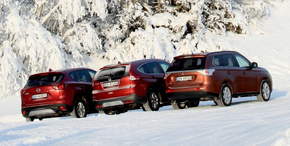 PLASS: Honda CR-V har størst bagasjeromsplass av bilene.