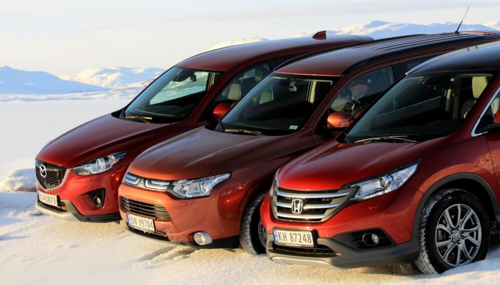 SUV: Mange vil ha SUV, og vi skjønner hvorfor. Tre nye japanske modeller viser klare forbedringer. Vi kårer den beste. FOTO: Egil Nordlien, HM Foto