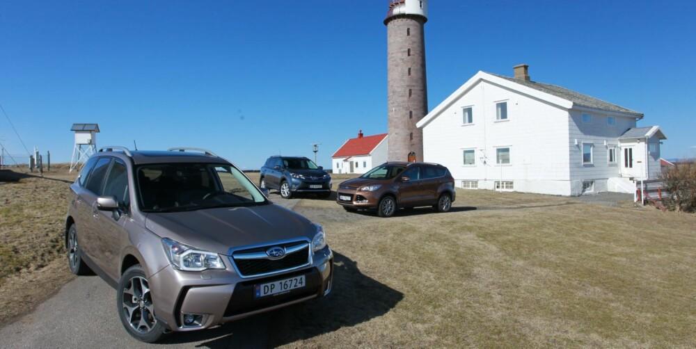 FYRTÅRNET: Vår favoritt av testbilene er Subaru Forester, fordi den har de beste egenskapene totalt sett. FOTO: Petter Handeland