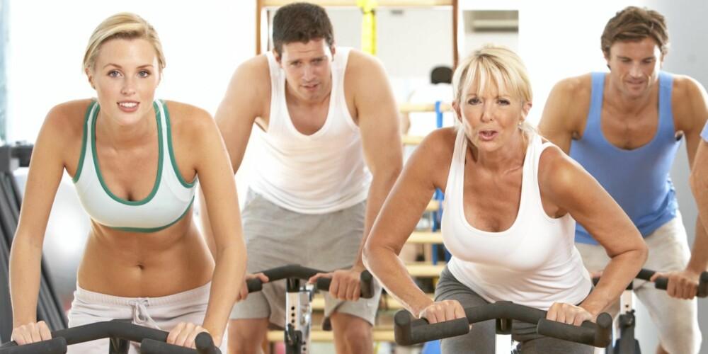 SPINNING: For å øke kondisen er det sykkel, romaskin, step og tredemølle som gjelder.