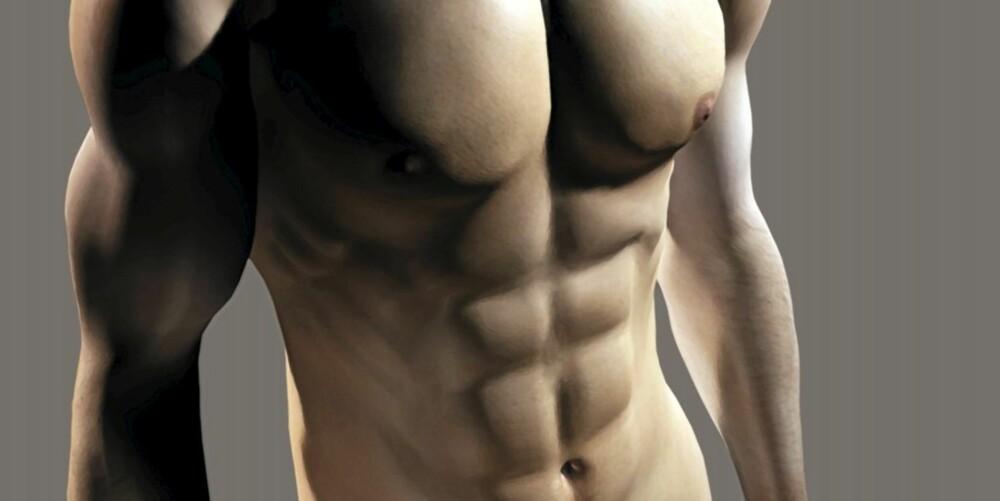 DEFINERTE MUSKLER: Vaskebrettmage og kraftige overarmer er målet for mange menn som løfter vekter.