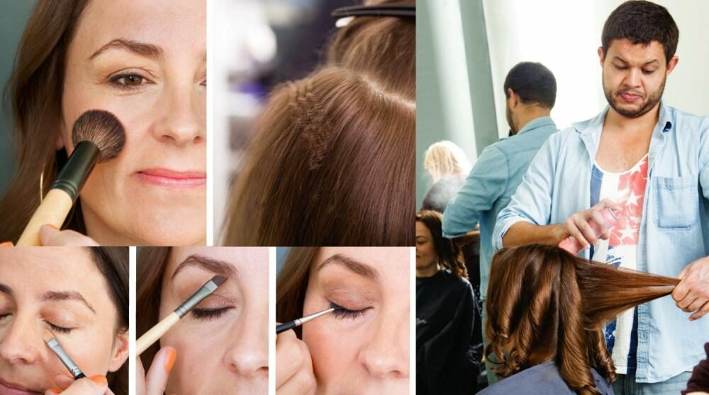 HÅR OG SMINKE: Håret kreppes i lag tett ved hodebunnen for å gi volum. Det øverste laget kreppes ikke. Frisør Eirik bruker en varmebeskyttende spray før han lager korketrekkerne. Dette er viktig for å bevare glansen i håret. Brynene til Ann-Kristin markeres med pensel og brynskygge. Hun kler skygger i jordfarger. En blyant markerer øynene, og duses ut med en liten pensel.