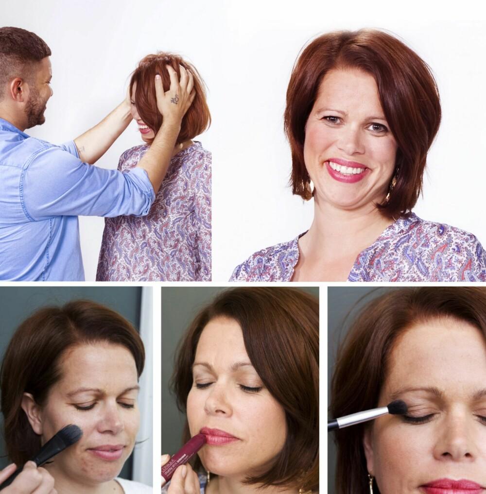 HÅR OG SMINKE: Elisabeth farger vanligvis håret sitt selv, og frisør Eirik måtte derfor fjerne fargen før han kunne starte forvandlingen. Makeupartist Jeanette synes Elisabeth har en vakker munn, og bestemte seg derfor for å fokusere på leppene ved å gi henne en leppestift med mye farge.