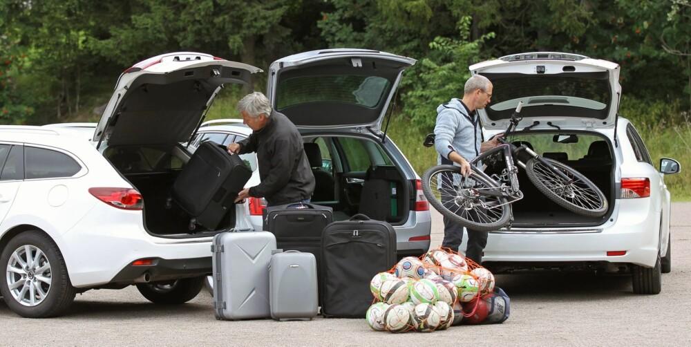 BAGASJESJEKK: Vi lesset Avensis, Mazda 6 og Skoda Octavia med kofferter, sportsutstyr og en sykkel. Octavia rommet mes, Mazda nest mest og Avensis minst. Avensis er likevel en romslig bil.