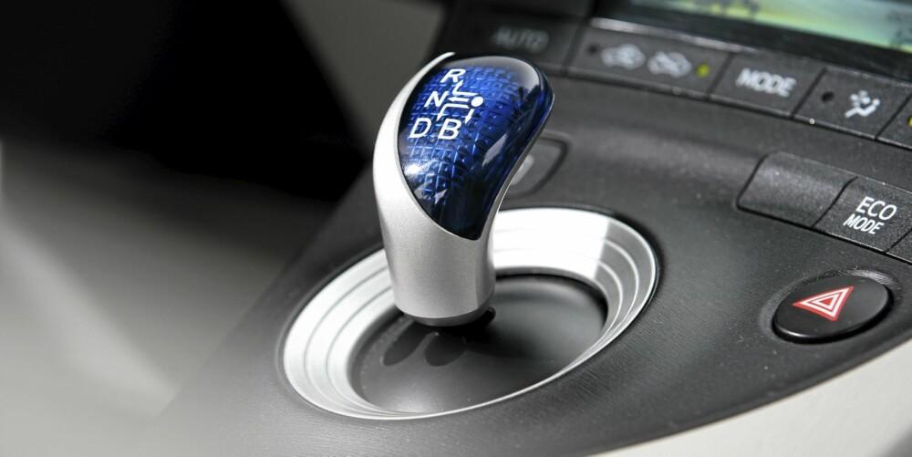 PLANETGIR: Girkassen er trinnløs, og bilen skifter nesten sømløst mellom elektro- og bensinmotoren.