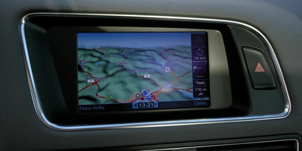 De nye topografiske kartene i Audis MMI-system ser lekre ut, og gir deg god informasjon om terrenget.