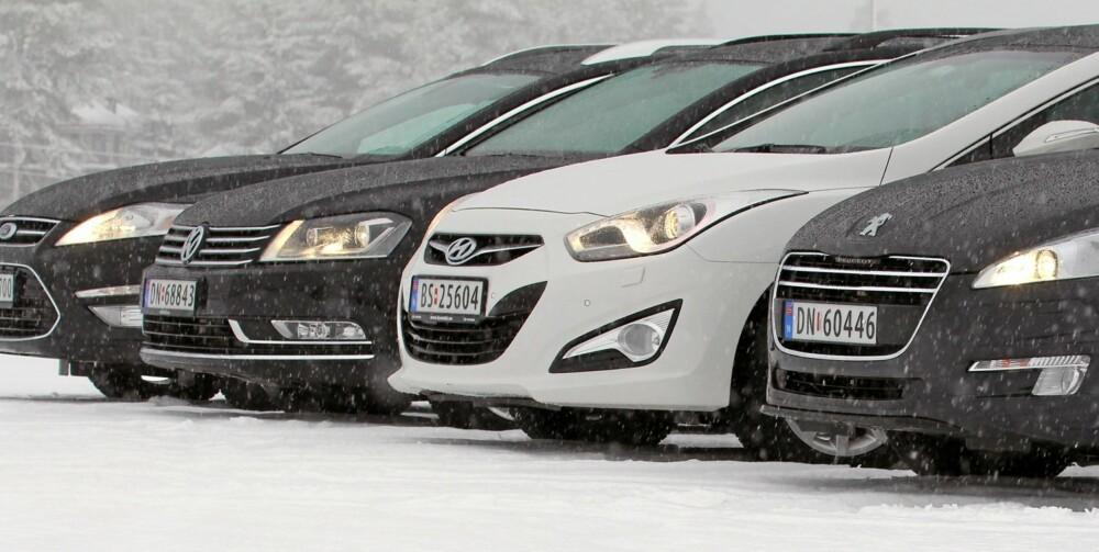 FORNUFTIGE, MEN IKKE FESTLIGE FIRE: Ford Mondeo 1,6 TDCI, Hyundai i40 1,7 CRDi (115 hk), Peugeot 508 SW 1,6 HDi og VW Passat 1,6 TDI
